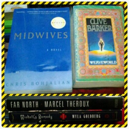 Four out of six books hauled in January. I picked up MIDWIVES to add to my Chris Bohjalian pile, WEAVEWORLD to add to my Clive Barker I-will-see-you-in-my-horror-reading-month pile, FAR NORTH by Marcel Theroux because it's dystopian that's less mainstream, and WICKETT'S REMEDY because I need something to pair with Midwives to avail the Buy One, Take One sale. Not in photo are JOYLAND by Stephen King [gift] and THE ANTHOLOGIST by Nicholson Baker.
