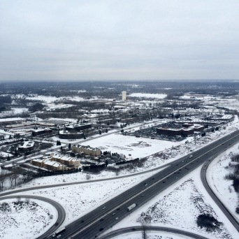 Snowy Minneapolis from the plane.